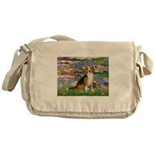 Beagle in Monet's Lilies Messenger Bag