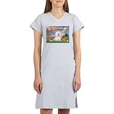 Cloud Angel & Bichon Women's Nightshirt