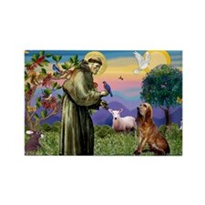 St Francis & Bloodhound Rectangle Magnet (10 p