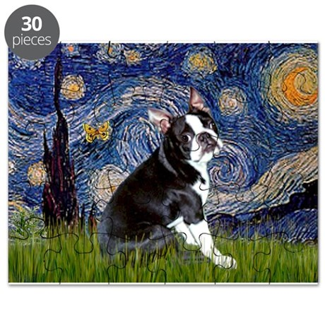 Starry Night/Boston Terrier Puzzle
