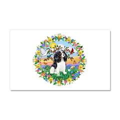 Flower Wreath - Tri Cavalier Car Magnet 20 x 12