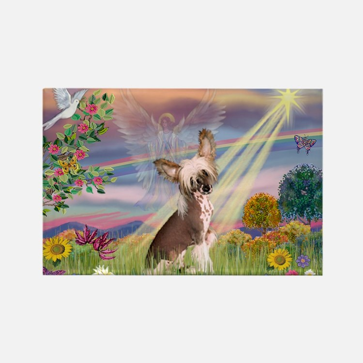 Cloud Angel/Chinese Crested Rectangle Magnet (10 p