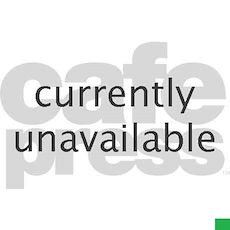 Polar Bear wearing Santa hat lying on its back in Poster