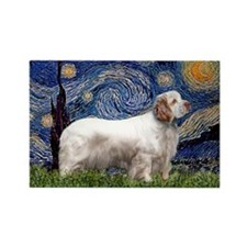 Starry Night Clumber Spaniel Rectangle Magnet
