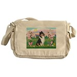 Blossoms / Collie (tri) Messenger Bag