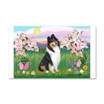 Blossoms / Collie (tri) Car Magnet 20 x 12