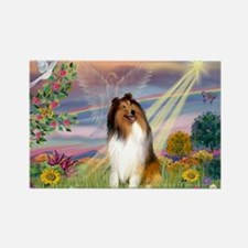 Cloud Angel & Collie Rectangle Magnet (10 pack)