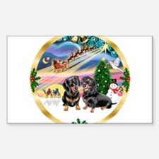 XmasMagic/2 Dachshunds Sticker (Rectangle)