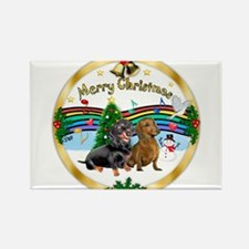 XmasMusic1/2 Dachshunds Rectangle Magnet (10 pack)
