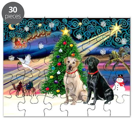 Xmas Magic/2 Labradors (Y+B) Puzzle