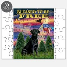 Blessed/Free-Black Lab Puzzle