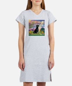 Cloud Angel & Black Lab Women's Nightshirt