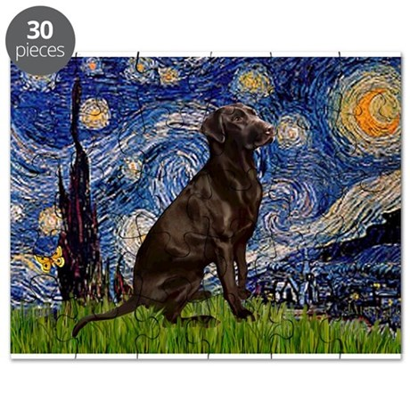 Starry Chocolate Lab Puzzle