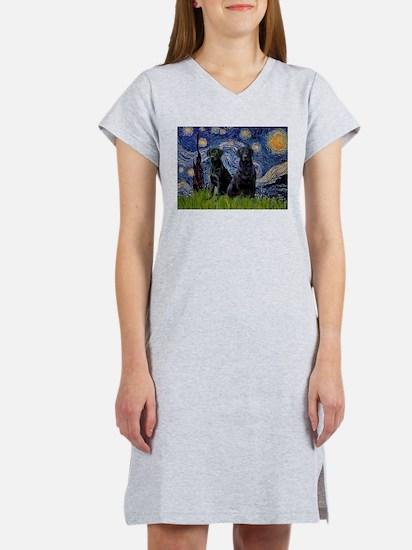 Starry Night / 2 Black Labs Women's Nightshirt