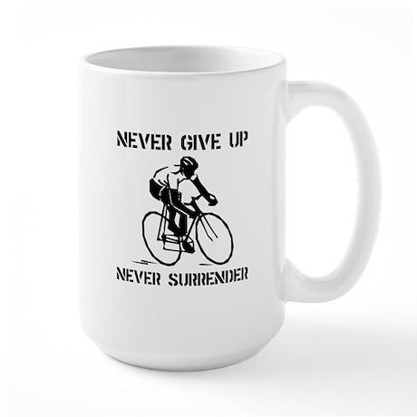 Never Give Up Biker Large Mug