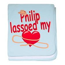 Philip Lassoed My Heart baby blanket