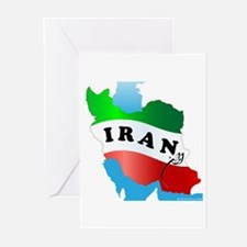 Iran Map with Flag Greeting Cards (Pk of 10)