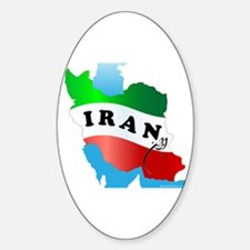 Iran Map with Flag Sticker (Oval)