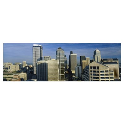 Skyscrapers in a city, Seattle, Washington State Poster