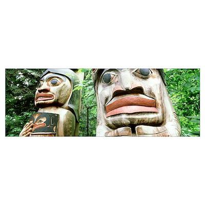 Totem Poles Capilano Vancouver BC Canada Poster