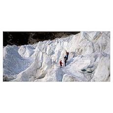Trekking on Fox Glacier New Zealand Poster