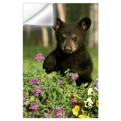 Captive Black Bear Cub Playing In Flowers Minnesot Wall Decal
