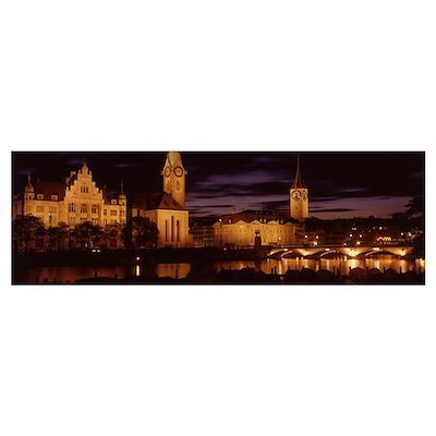 Switzerland, Zurich, Limmat River Poster