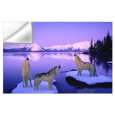 Group of Howling Wolves Winter Wall Decal