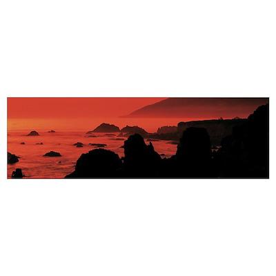Dusk Headlands near Pacific Valley Big Sur CA Poster