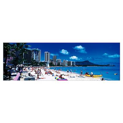 Waikiki Beach Honolulu Oahu HI Poster