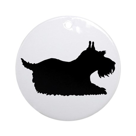 Schnauzer Silhouette Ornament (Round)