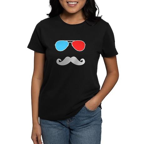 3D Glasses & Stache Women's Dark T-Shirt