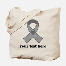 Personalized Gray Ribbon Tote Bag