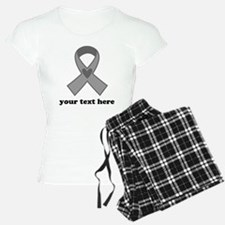 Personalized Gray Ribbon Pajamas