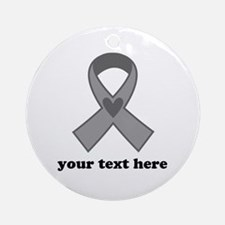 Personalized Gray Ribbon Ornament (Round)