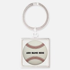 Baseball Name Customized Square Keychain