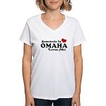 Somebody In Omaha Loves Me Women's V-Neck T-Shirt