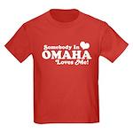 Somebody In Omaha Loves Me Kids Dark T-Shirt