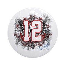 Tom Brady Grunge Skull Ornament (Round)