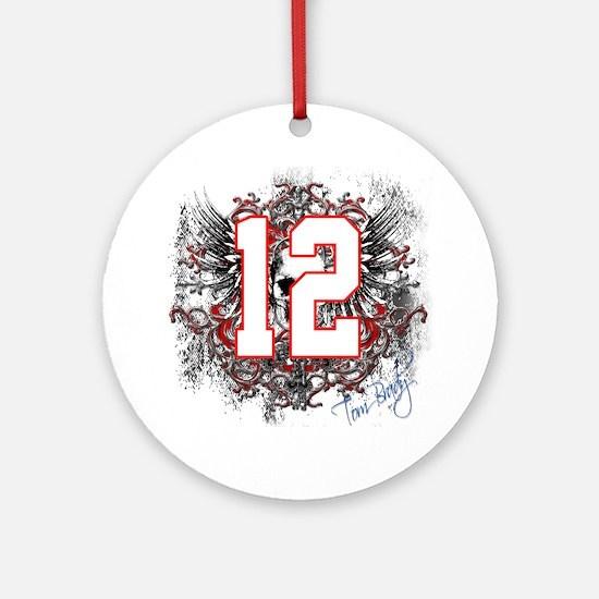 Tom Brady Grunge Skull Ornament (Round)