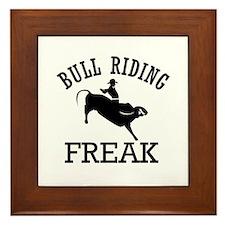Bull Riding Freak Framed Tile