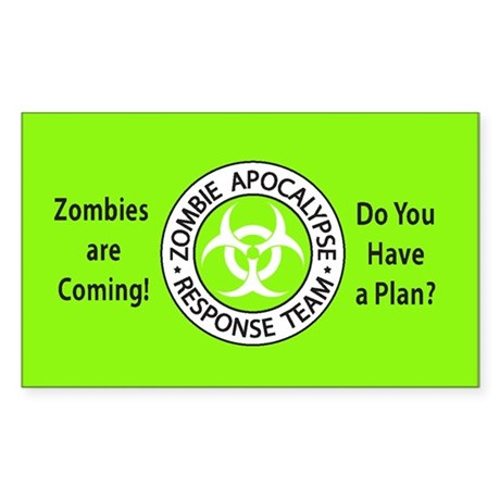 Zombies Neon Green Sticker (Rectangle)