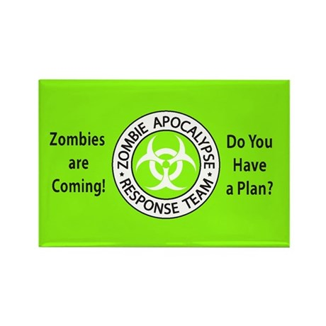 Zombies Neon Green Rectangle Magnet