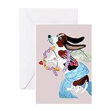 Basset Hound Cupid Greeting Card