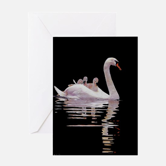 Cute Swans Greeting Card