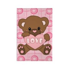 Cute pink valentine teddy Rectangle Magnet