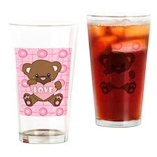 Cute pink valentine teddy Drinking Glass