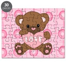 Cute pink valentine teddy Puzzle