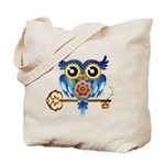 Owl on Skeleton Key Tote Bag