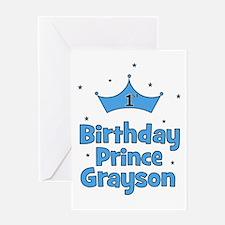 1st Birthday Prince GRAYSON! Greeting Card